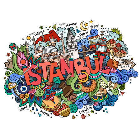 Istanbul city hand lettering and doodles elements