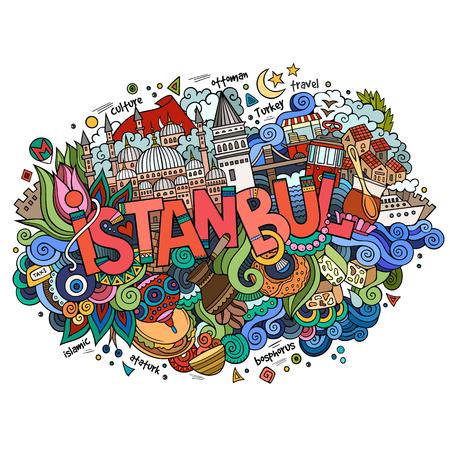 이스탄불 도시 핸드 레터링과 낙서 요소