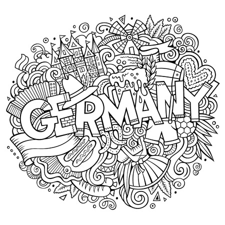 hand illustration: Cartoon cute doodles hand drawn Germany inscription. Line art illustration with Deutsche theme items. Line art detailed, with lots of objects background. Funny vector artwork