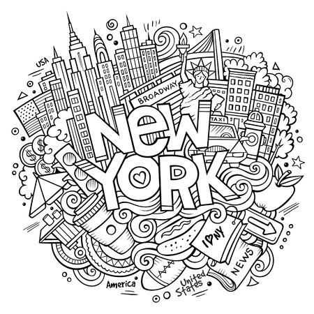 Cartoon cute doodles hand drawn New York inscription