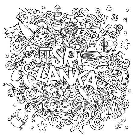 srilanka: Sri Lanka country hand lettering and doodles elements and symbols background. Vector hand drawn sketchy illustration Illustration