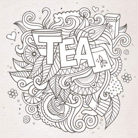 Tea hand lettering and doodles elements background 일러스트