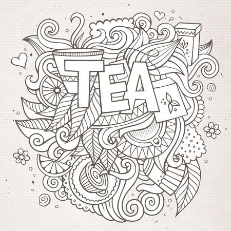 Tea hand lettering and doodles elements background Illustration