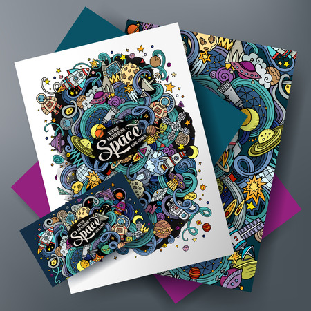 Cartoon cute colorful vector hand drawn doodles Space corporate identity set. Templates design of business card, flyers, posters, papers on the table