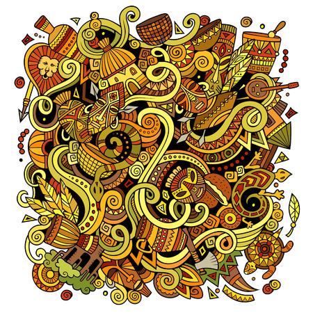 african culture: Cartoon cute doodles Africa illustration