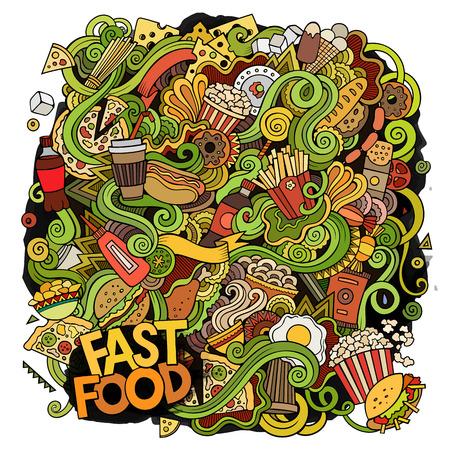 ketchup bottle: Cartoon cute doodles hand drawn Fastfood illustration Illustration