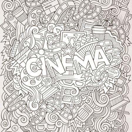 Cartoon cute doodles r? Cznie narysowane napis Cinema