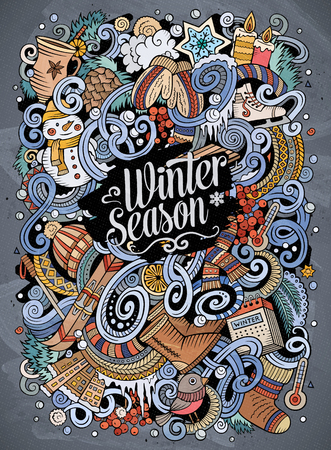Cartoon cute doodles hand drawn Winter season illustration. Colorful detailed, with lots of objects background. Funny vector artwork. Bright colors picture