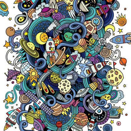 space station: Cartoon hand-drawn doodles Space illustration. Colorful detailed, with lots of objects vector background