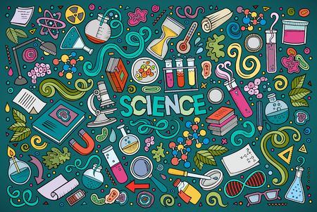 science symbols: Vector cartoon set of Science theme objects and symbols