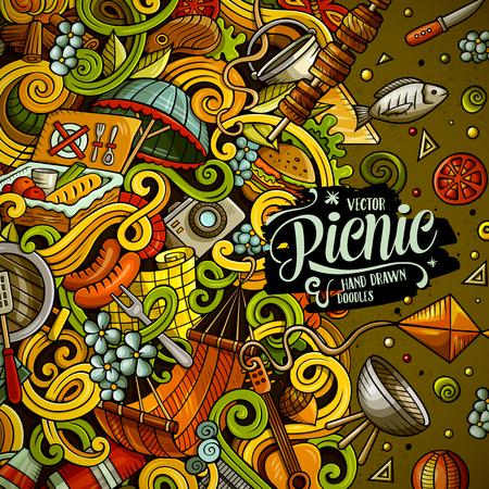 Cartoon vector picnic doodle illustration Illustration