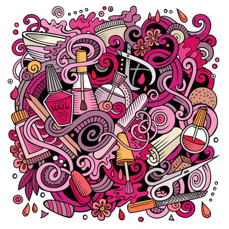 漫画のホリデーロゴ ネイル サロン図  イラスト・ベクター素材