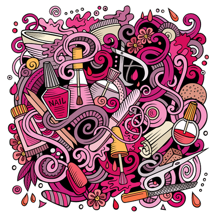 Cartoon doodles Nail salon illustration Vettoriali