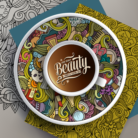 Vector illustration with a Cup of coffee and hand drawn cosmetic doodles on a saucer, paper and background