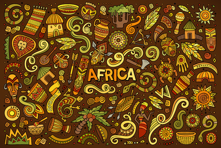 Vector conjunto de dibujos animados del doodle de objetos África