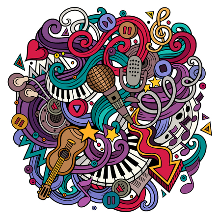 Cartoon hand-drawn doodles Musical illustration Stock Illustration - 69846426