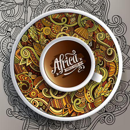 bezel: Vector illustration African doodle cup of coffee