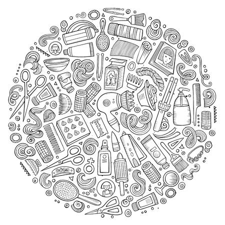 Ensemble de vecteur d'objets de dessin animé doodle de salon de coiffure Vecteurs
