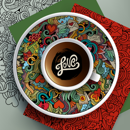 Cup of coffee and hand drawn Love doodles on a saucer, paper, background Illustration