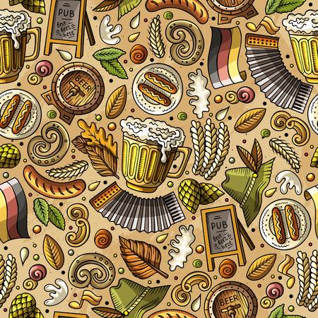 barrel tile: Cartoon cute hand drawn Beer fest seamless pattern