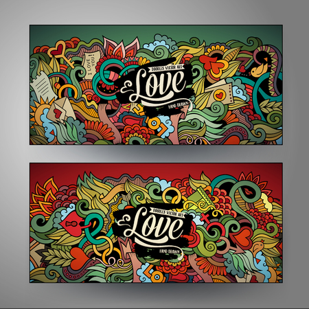cute love: Cartoon cute vector doodles Love vertical banners design Illustration