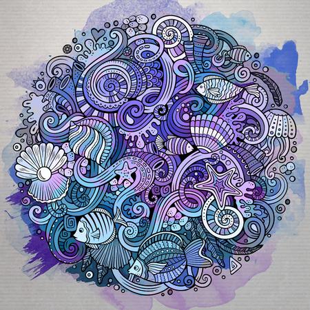 flora  vector: Cartoon hand-drawn doodles Underwater life illustration