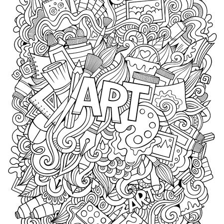 palette: Cartoon cute doodles hand drawn illustration.