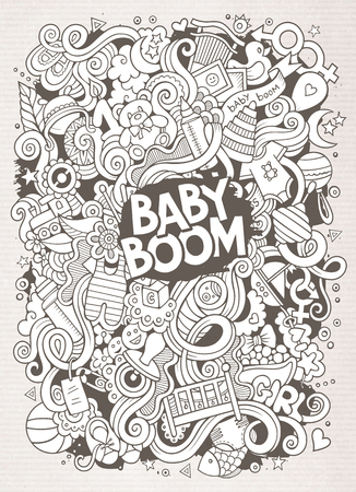 kids background: Cartoon cute doodles hand drawn Baby illustration