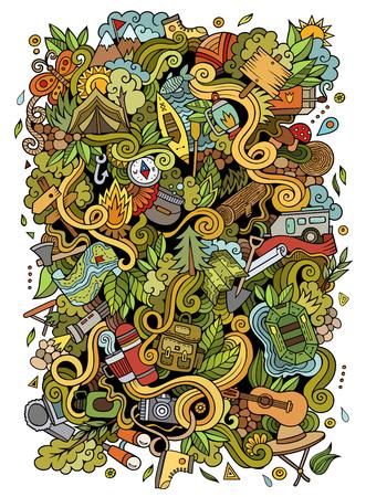 Cartoon handgetekende doodles kamp illustratie Stock Illustratie