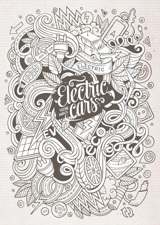 zero emission: Cartoon cute doodles Electric cars illustration