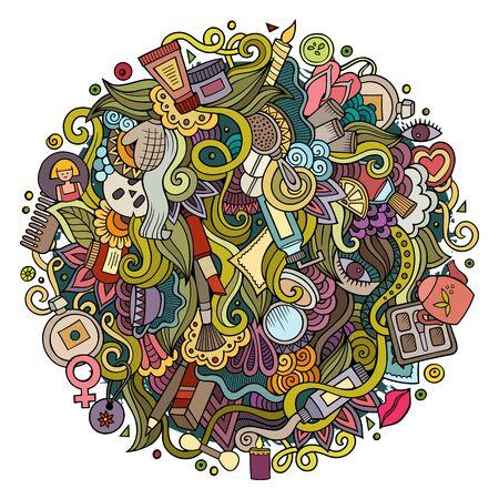 Cartoon cute doodles hand drawn Beauty illustration Stock Photo