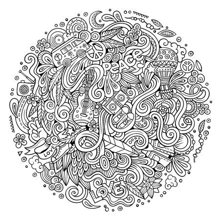 Cartoon hand-drawn doodles hippie illustration Stock Photo