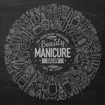Vector set of Manicure cartoon doodle objects