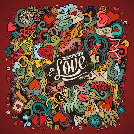 Cartoon cute doodles hand drawn Valentines Day illustration