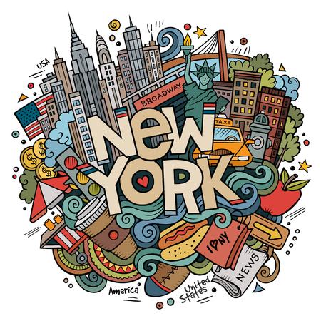 Kreskówka doodle ręcznie rysowane New York napis