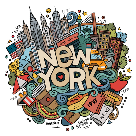Leuke cartoon doodles hand getekende New York inscriptie