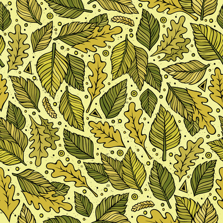 Cartoon cute hand drawn Green leaves seamless pattern