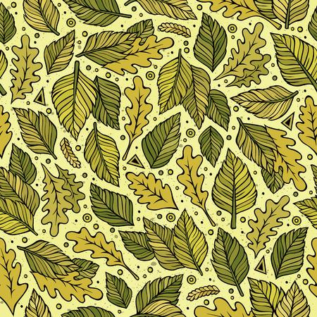 Cartoon cute hand drawn Green leaves seamless pattern