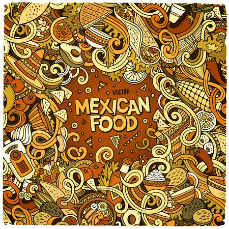 latinoamerica: Cartoon mexican food doodles frame design Illustration