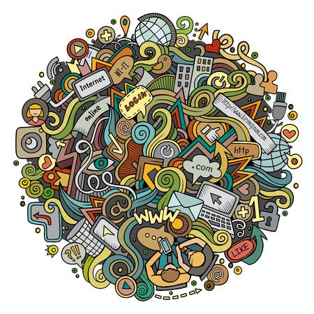 Cartoon cute doodles hand drawn social media illustration. Illustration