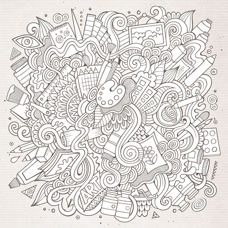abstract paintings: Cartoon cute doodles hand drawn Artistic illustration