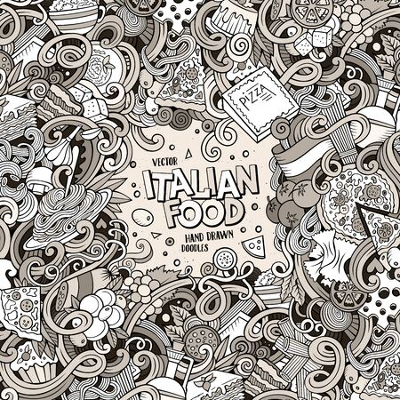 food illustration: Cartoon hand-drawn doodles Italian food illustration Stock Photo