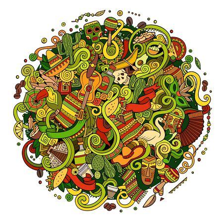 Cartoon hand-drawn doodles Latin American illustration Stock Photo