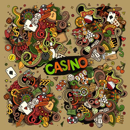 Bunte Vektor handgezeichnete Kritzeleien Cartoon-Reihe von Casino-Designs Standard-Bild - 71364627