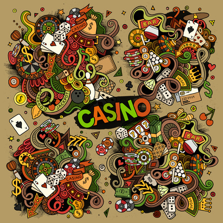 Colorful vector hand drawn doodles cartoon set of Casino designs Illustration