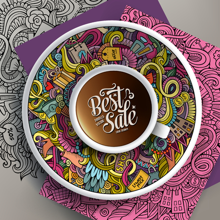 Vector up of coffee and Sale doodles on a saucer, paper and background 일러스트