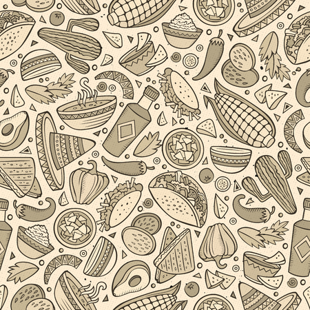 spicy food: Cartoon cute hand drawn Mexican food seamless pattern. Monochrome detailed, with lots of objects background. Endless funny vector illustration.