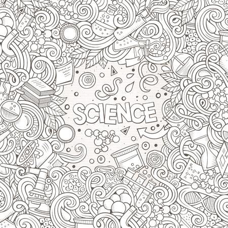 Cartoon cute doodles science frame illustration