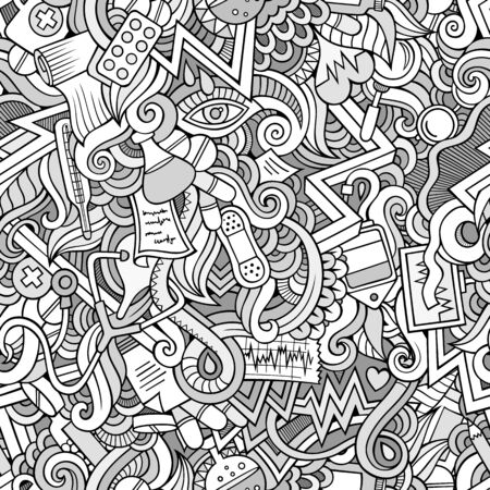 Drugs: Cartoon cute doodles hand drawn Medical seamless pattern