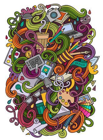 Cartoon cute doodles design illustration
